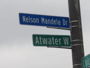 Detroit Street Sign For Mandela Intersection Where Obama Spoke