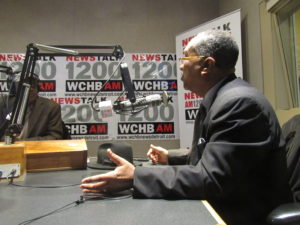 Steele with local radio host after City Council